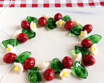 Strawberry Beads Leaf Flowers Czech Glass Fruit Vine Mix