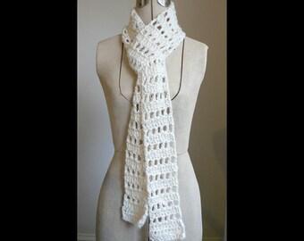Soft Cream Crocheted Scarf