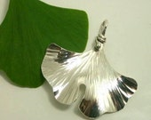 Ginkgo Pendant, Sterling Silver, Larger Size. 204ss