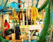 Shrimp Boat Deck: colorful fine art photography print of fishing equipment in vibrant blue, green, yellow, orange
