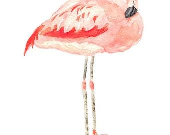 Flamingo Print from Original Watercolor, Flamingo Wall Art Print, Pink Flamingo Home Decor Watercolor Print, Coastal Decor Wall Art Print,