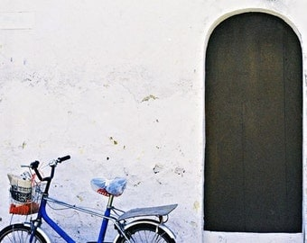 cobalt Blue white brown bicycle photograph door bike abstract  Asia travel