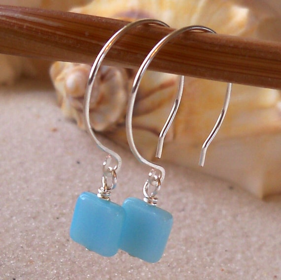 Baby Blue Square Glass Beaded Earrings