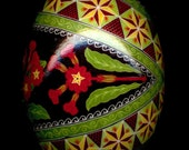 Made To Order: Red Primroses Pysanka Pysanky Duck Egg Batik Art by So Jeo