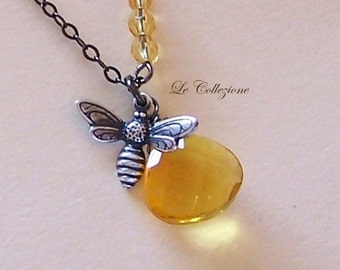 Honey Bee Necklace - Antiqued Brass Bee Charm and Warm Amber Quartz Briolette Pendant Necklace - 9643