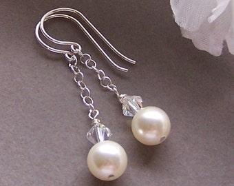 Bridal Earrings, Silver Dangle Earrings, Pearl Earrings, Bridesmaids, Brides, Prom, Bridal Parties