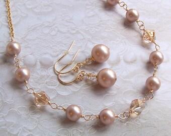 Bridal Necklace - CRYSTALLIZED - Swarovski Elements and 14K Gold filled - Choose your Pearl Color - 3015