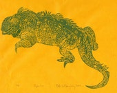 Iguana - First Edition Lino Block Print - Linocut Iguana Print in Green on Yellow Japanese Paper, Natural History, Lizard