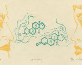 Chemistry - Original Lino Block Print of Man & Woman with Pheromone Molecules, Organic Chemistry, Science, Scent, Love
