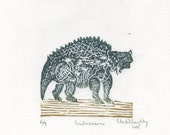 Scutosaurus Dinosaur Mini Linocut - Small Armor Covered Pareiasaur Dinosaur Lino Block Print