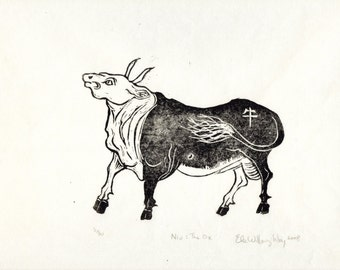 Niu- The Ox, Linocut, 2nd in the Chinese Zodiac - Limited Edition - Black and White Lino Block Print Ox with Chinese Character