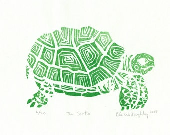 The Turtle Linocut- Limited Edition Small Lino Block Print of a Turtle in Green on White Japanese Paper