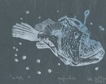 Anglerfish Linocut - Deep Sea Ugly Cute Bioluminescent Fish Lino Block Print