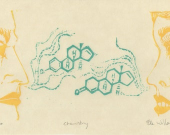 Chemistry - Original Lino Block Print of Man & Woman with Pheromone Molecules, Organic Chemistry, Science, Scent, Love