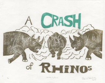 A Crash of  Rhinos Linocut, Terms of Venery, Collective Nouns for Animals Collection, Rhinoceros, Typography, Rhinoceri, A Crash of Rhinos