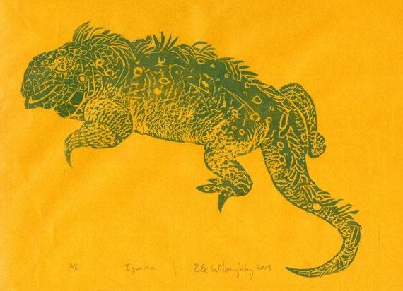 Iguana - First Edition Lino Block Print - Linocut Iguana Print in Green on Yellow Japanese Paper, Natural History, Lizard