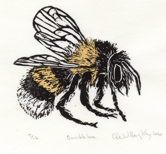 Bumblebee Linocut - Lino Block Illustration of European Bumblebee, Bee Biodiversity Print Collection, Bombus Terrestris, Insects Pollination