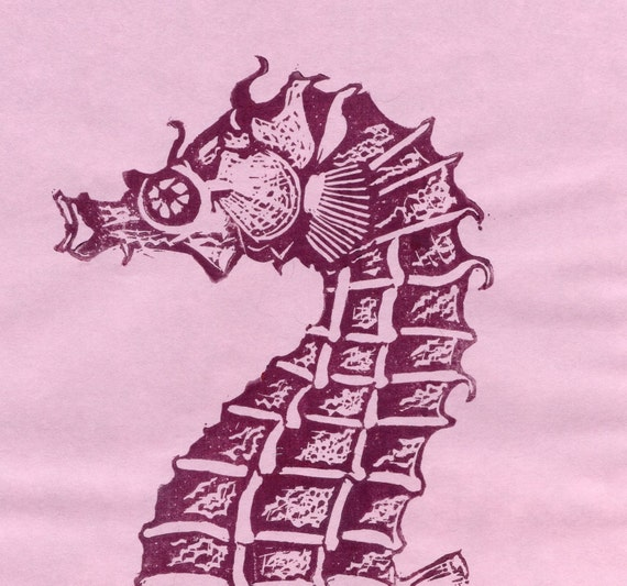 Seahorse Linocut - Handprinted Plum coloured Seahorse Lino Block Print on Japanese Paper