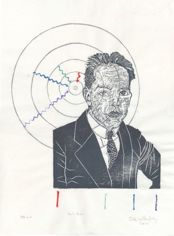 Niels Bohr History of Physics Linocut - Block Print Bohr Hydrogen Atom with Balmer Series Spectral Lines - Scientist Portrait Physicist Bohr