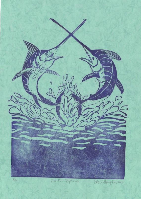 X is for Xiphias Linocut - Swordfish Lino Block Print, Fighting Swordfish, X is for Xiphias