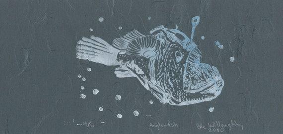 Anglerfish Linocut - Deep Sea Ugly Cute Bioluminescent Fish Lino Block Print