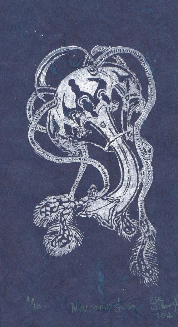 Narcomedusae Jellyfish Linocut - Lino Block Print in White on Blue Japanese Paper of Beautiful Jellyfish Narcomedusa, Marine Biology