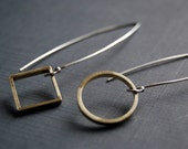 Squared circle - silver and brass Earrings