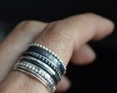 Grape X silver stacking rings