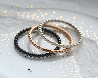 Trio of colors stacking rings, silver and 14k gold filled bands