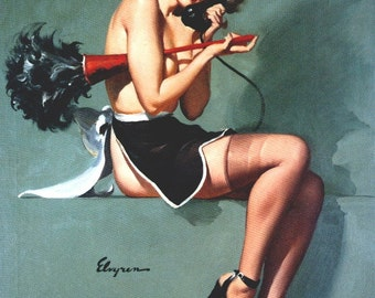 Special Order FRENCH MAID you pick Brunette, Blonde or Redhead. ELVGREN pinups Retro Deco Stockings Lingerie Up Skirt Apron Pin-up Canvas