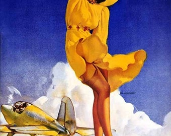Large Canvas SALE . ELVGREN . TAILWIND . Aviation. Nose Art Pin-Up Nylons Stockings Up Skirt WwII Swing