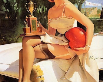 ELVGREN Fast Lass - 300 SL Mercedes  Pinup Garters Nylons Stockings Up-Skirt Stock Race Car Trophy Pin-Up Model Calendar Girl Pinups