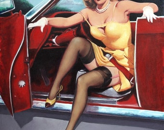 STEPPING HOTROD PINUP UpSkirt nylons Garters Stockings Pin-Up in Convertible Chevy Midcentury 12x18 Giclee