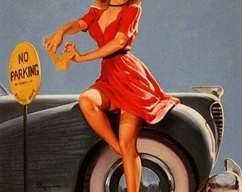 ELVGREN Nobody Pinches Me! Hot Rod Pinup Girl Up Skirt Garters Nylon Stockings Pin-Up Rockabilly Cops Police 1940s