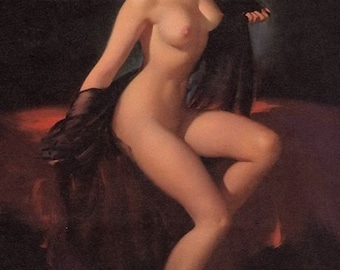 ELVGREN - UNVEILING  - NUDE pinup - 1940s Mid Century Pin-Up signed limited edition Giclee