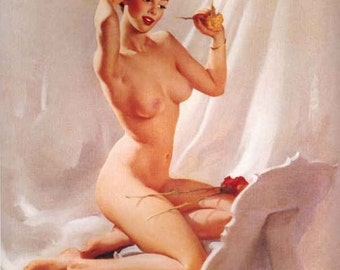 ELVGREN - PERFECTION -From Original Painting! Rare NUDE Pin-Up 12x18 Art Deco Pinup with Roses Elvgrin Fine Art Vanguard Gallery Exclusive