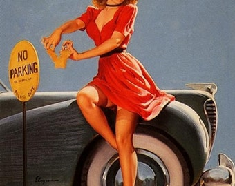 ELVGREN  Hot Rod Bad girl pin-up NOBODY PINCHING No Parking! Nylons stockings Up Skirt Cop, police 1940's pinup calendar Illustration art.