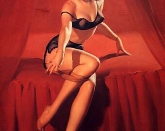 ELVGREN BURLESQUE Pinup - 2 For 1 Sale -  Art Deco See Through Sheer  Pin-Up - Bedroom Lingerie Stocking Bedroom Tease - 8X11- signed print