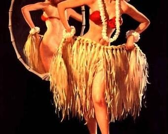 ELVGREN - DRAWING SRTAWS - Hula Pin-Up Hawwiian Retro Island Girl Tiki Bar pinups