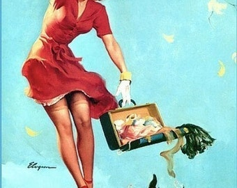 ELVGREN - FINDERS KEEPERS - 8x11, Upskirt pinup with Scotty Dog Puppy exposes Nylons stockings Garters belt Pin-Up signed