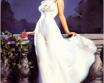 ELVGREN - DREAM GIRL - 8x11 Glamour Girl Pinup in the Moon Light Romantic Pin-Up Roses looks Norma Jean Marilyn Monroe