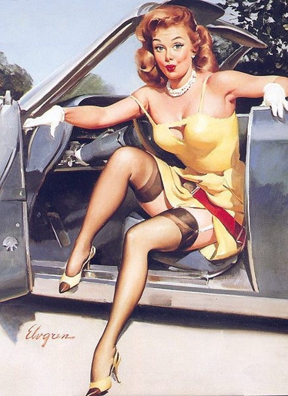 SALE . ELVGREN  HOTROD - G.M. Chevy Pinup, UpkSkirt, Nylons Stockings Garters Pin-Up Hard to find!