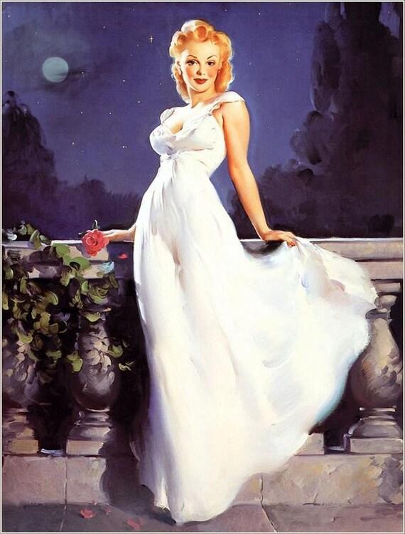 Sale ELVGREN PIn-Up DREAM GIRL  Moonlight 1940's pinup Marilyn Monroe style canvas larger.