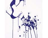 merciful, 8x10 fine art stiletto print in navy and white, modern abstract painting with drips, ladies heels shoe fetish reproduction
