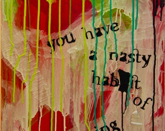 noxious, original abstract painting, acrylic paint and collage text on canvas, modern art in red, white, green, yellow, blue and black