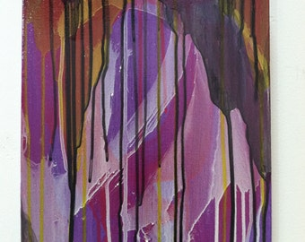 imperious, original abstract painting in purple, white, black and green, acrylic paint on canvas, modern colorful drip painting