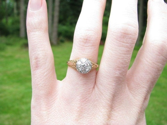 RESERVED for Katie - Intricate Filigree 14K Gold and Old European Cut Diamond Ring, Engagement or Promise Ring