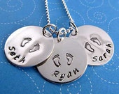 Mother's Necklace Personalized Charm Necklace Sterling Silver Hand Stamped Mommy Necklace