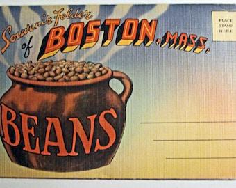 Vintage Souvenir Postcard Folder of Boston, Mass - circa 1940