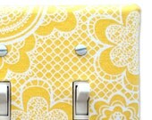 Fabric Double Standard Light Switch Plate Cover - yellow with white lace pattern